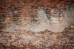 Old brick wall textured background. Old brick wall and ruined concrete textured background. High resolution for pattern backdrop Royalty Free Stock Photography