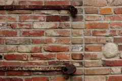 Old brick wall with rusty locks Royalty Free Stock Photo