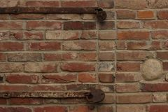 Old brick wall with rusty locks Royalty Free Stock Images