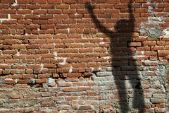 Old Brick Wall With Shadow Royalty Free Stock Photo