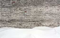 Old brick wall and snow. Royalty Free Stock Images