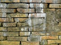 Old brick wall spoiled stock photo