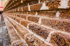 Old brick wall of temple for background Stock Photos