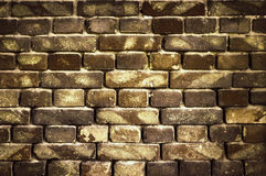 Old brick wall for texture or background, dark brown toned Stock Photography