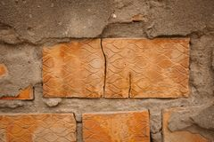 Old brick wall texture and background for design. Old cracked brick as background.