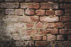 Old brick wall for texture or background,. Brown and red color stock photography