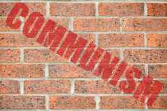 Old brick wall texture with COMMUNISM inscription Royalty Free Stock Photo
