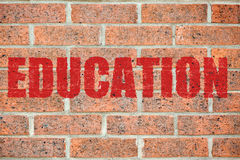 Old brick wall texture with EDUCATION inscription Royalty Free Stock Photo
