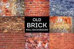 Old Brick wall texture grunge background. Collection Royalty Free Stock Images