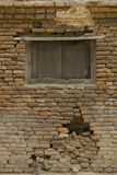 Old brick wall: Texture of vintage brickwork, Old cracked wall w Royalty Free Stock Photography