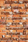 Old Brick Wall. A Weathered and Bumpy Wall Built with Red Bricks stock photos