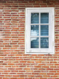 OLd brick wall and white glass window. In the upper right corner exterior design loft style. Copy space for text Stock Image