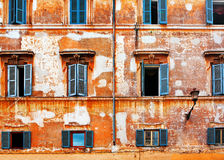 Old brick wall with windows Stock Image