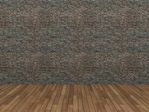 Old brick wall and wood floor,3d Stock Photo