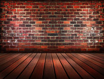 Old brick wall and wood pattern floor use as multi-purpose backg Stock Photography