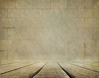 Old brick wall and wooden floor background Royalty Free Stock Image