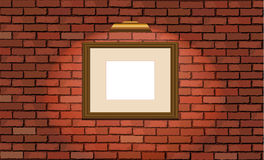 Old brick wall and wooden frame Royalty Free Stock Images