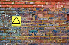 Old brick wall with yellow sign Royalty Free Stock Photos
