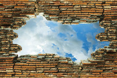 The old brick walls are broken and see the sky Royalty Free Stock Photo