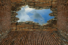 The old brick walls are broken and see the sky Royalty Free Stock Image