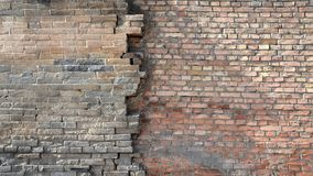 Old brick walls connect the new brick walls stock photography
