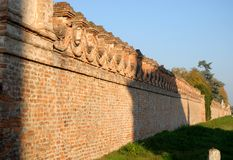 Old brick walls of the villa Sartori who is in the country of Candiana in the province of Padua in Veneto (Italy) Royalty Free Stock Images