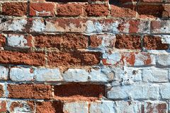 Old brick with white kraasca. Old brick keeps the construction Royalty Free Stock Images