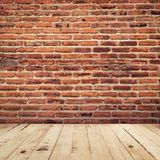 Old brick and wood floor perspective interior room background wi Stock Photo