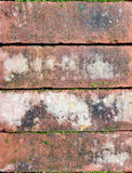 Old bricks with some moss, background texture, close up Royalty Free Stock Images