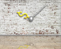 Old bricks wall with money sign clock hands and reflective clean Royalty Free Stock Photo