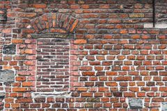 Old brickwork wall in Gent, Flanders, Belgium Royalty Free Stock Image