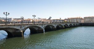 Old bridge - 1. View of an old brigde over a river. Pontevedra, Spain Royalty Free Stock Photography