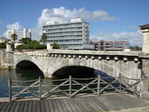 The Old Bridge. Under recontruction leads to the downtown of Bridgtown, Barbados royalty free stock images