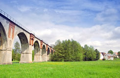 Old bridge. Old railroad bridge with arches Royalty Free Stock Photos
