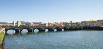 Old bridge - 2. Another perspective of an old bridge over a river. Seen in Pontevedra, Spain Stock Photography