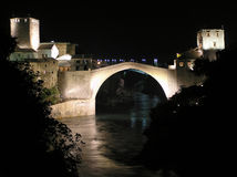 Old bridge. In Mostar built 1566 by neimar Hajrudin, protected by UNESCO (the unique monument which was destroyed royalty free stock photography