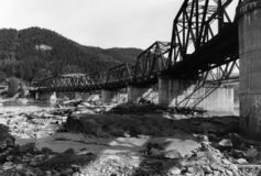 Old bridge. Black and white old bridge one of the few wooden bridges left, Taken in the northwest , British Columbia ,Canada Royalty Free Stock Images
