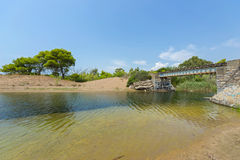 Old bridge in the abandoned railway line of Peloponnese, Greece stock photography