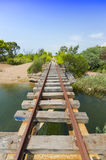 Old bridge in the abandoned railway line of Peloponnese, Greece royalty free stock photo