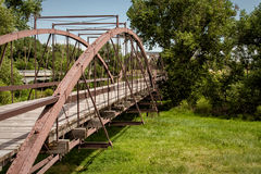 Old bridge. The old bridge across the North Platte river, Fort Laramie, Wyoming Stock Image