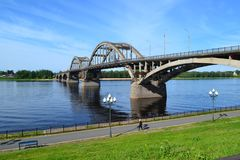 Old bridge across the Volga. A trip along the upper Volga along the golden ring of Russia royalty free stock images