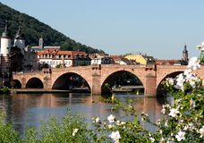 Old Bridge or Alte Brücke in Heidelberg, Germany. Photo made at the bridge old or Alte Brücke on the Neckar River, which is one of the oldest bridges in Stock Photo