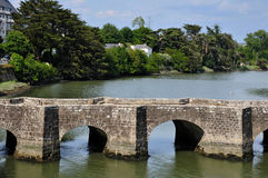 Old bridge of Auray in France Stock Photo