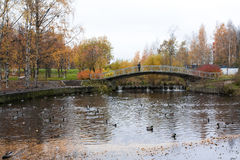 Old bridge in autumn, Petrozavodsk, Karelia Stock Photo