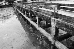 Old bridge black and white legend. The legend of old bridge at the sea coast of southern of Thailand stock image