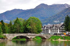 Old bridge on Bohinj lake Stock Image