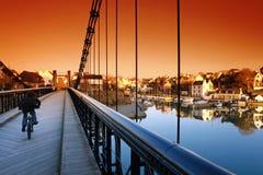 Old bridge of Bono village. Old bridge and Bono harbor reflection in Brittany royalty free stock photography