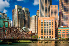 An old bridge and the Boston Skyline, seen from Fort Point. Stock Photography