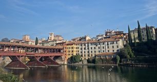 Old bridge and Brenta river in Bassano del Grappa. A panoramic view of the Old brige over the Brenta river in Bassano del Grappa Royalty Free Stock Photography