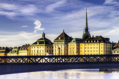 Old bridge and buildings. royalty free stock image
